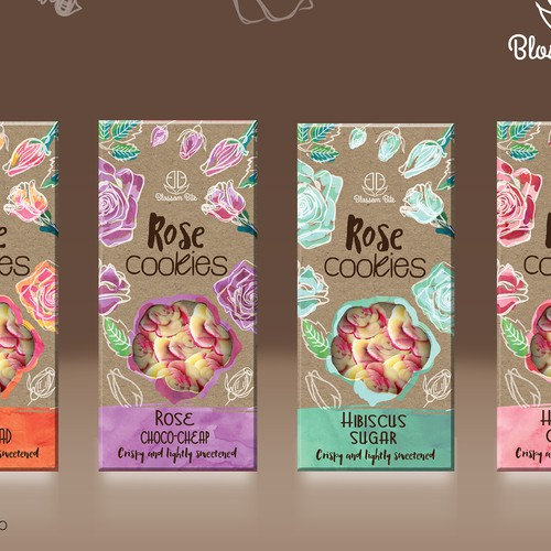 Cardboard packaging with the title 'Blossom Bite Flower cookies package design'
