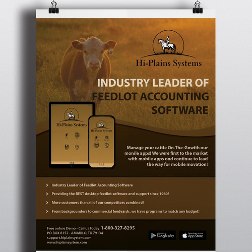Flayer design with the title 'Poster design for Feedlot Accounting Software'
