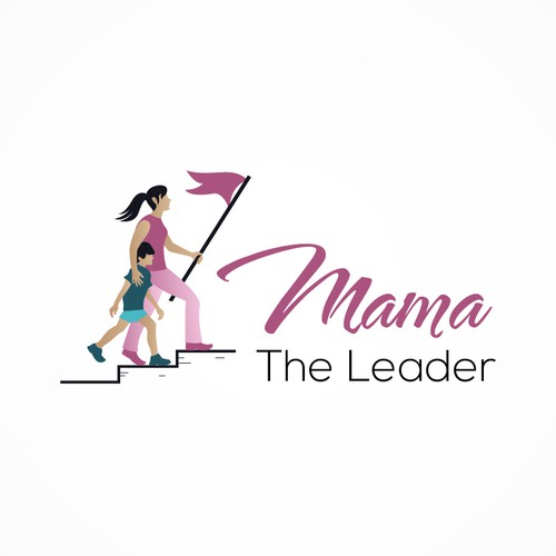 Mother and child logo with the title 'Mama the Leader'