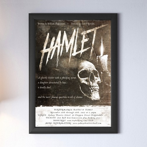 "Theater design with the title 'Poster design for ""Hamlet""'"