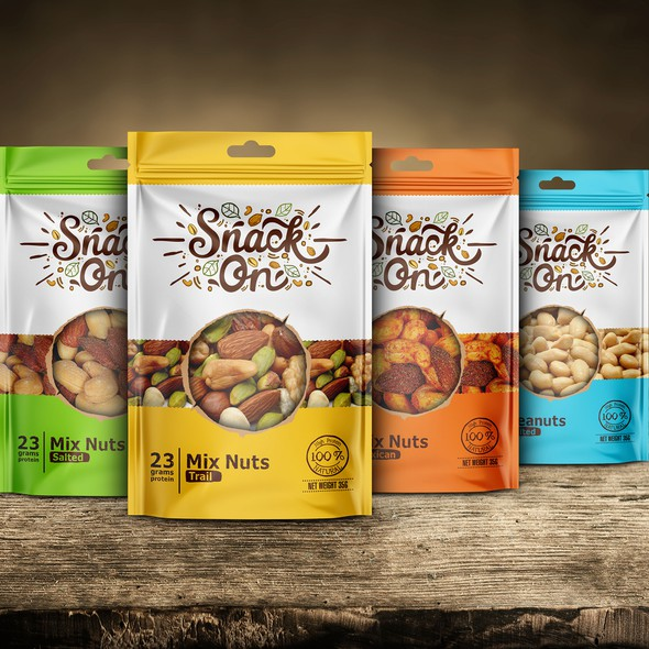 Natural packaging with the title 'Mixed Nuts for Everybody'
