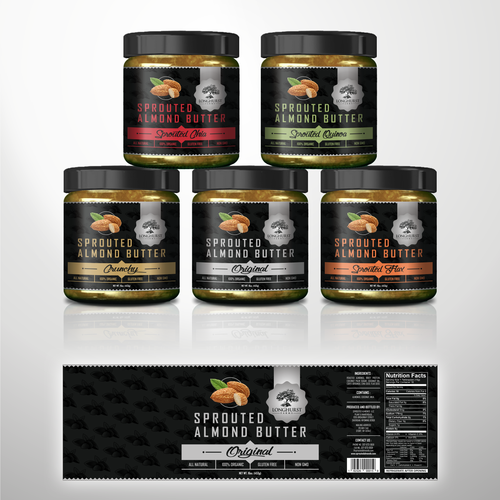 Almond design with the title 'sprouted almond butter jars labels'