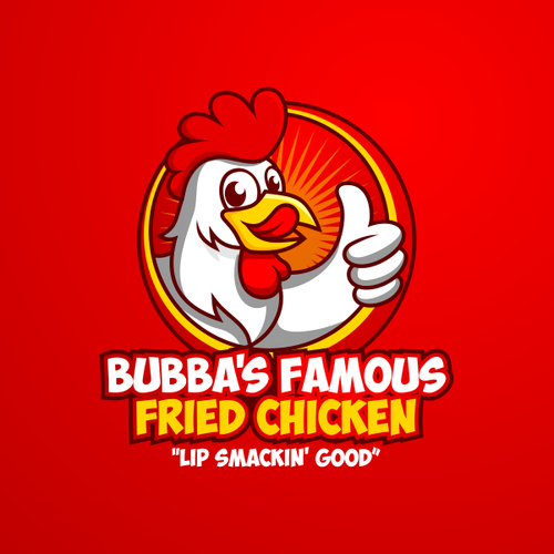 Laptop logo with the title 'Bubba's Famous Fried Chicken'