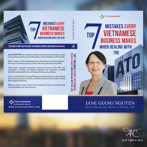 "Australian design with the title 'Full cover design forTop 7 Mistakes Every Vietnamese Business makes when dealingh with the ATO.""'"