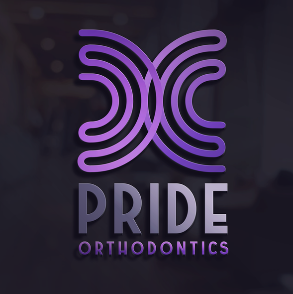 Rainbow logo with the title 'Eye-catching & chic logo for modern orthodontic practice in Austin, TX.'