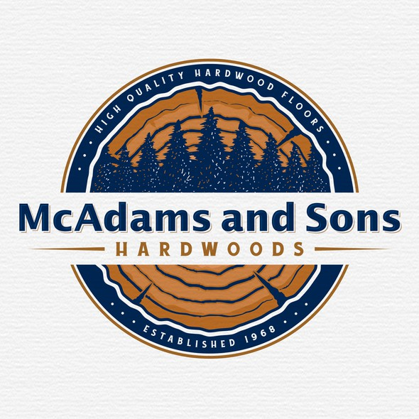 Wood circle logo with the title 'M & S HARDWOODS'