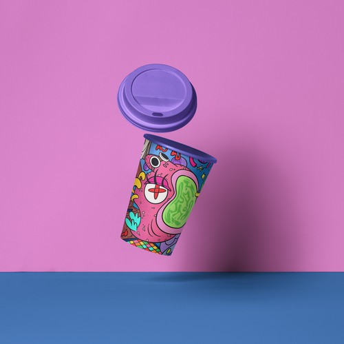 Hipster artwork with the title 'Paper cup's design'