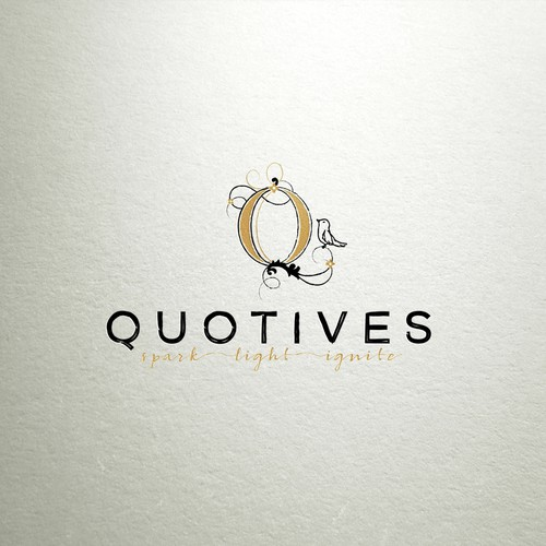 Artistic brand with the title 'quotives logo design'