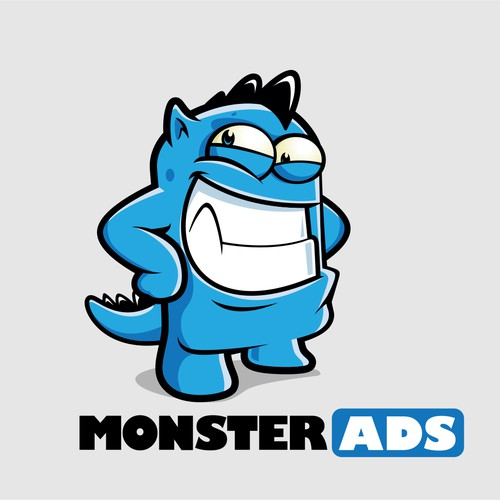 Mascot logo with the title 'Monster Ads'