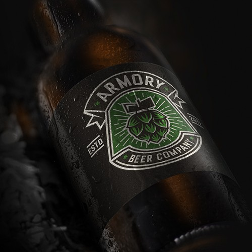 Armory logo with the title 'Armory beer company'