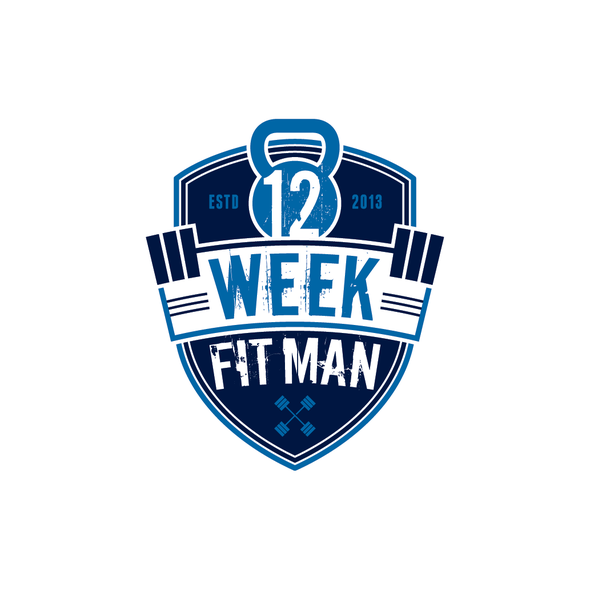 Weights logo with the title 'Create the next logo for 12 Week Fit Man'