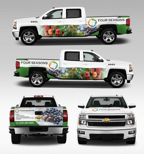 Car graphics design with the title 'four seasons contracting'