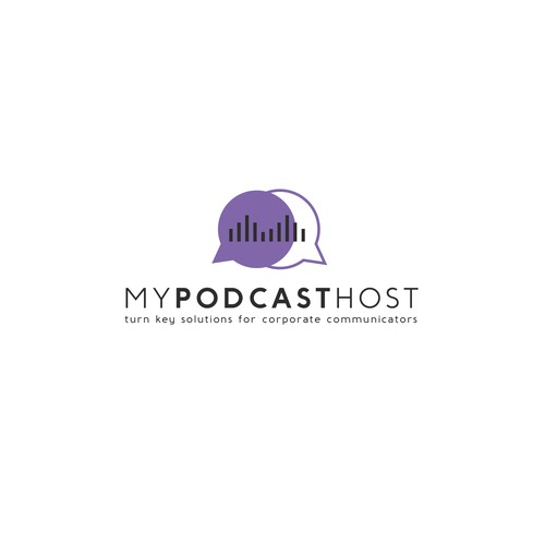 White and purple design with the title 'my podcast host'