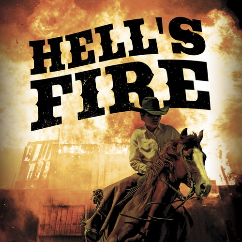 "Horse book cover with the title 'book cover for Western novel ""Hell's Fire""'"