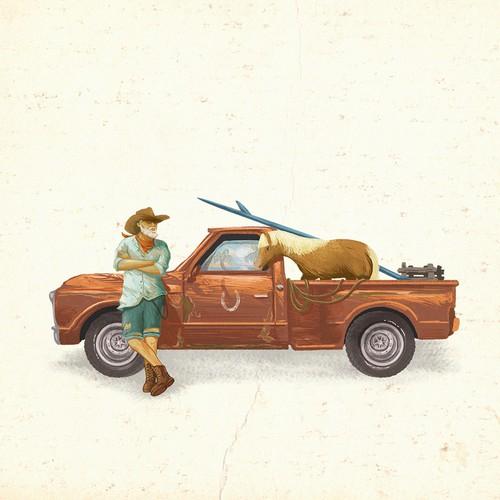 Cowboy design with the title 'coastal cowboy rum'