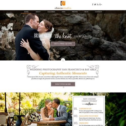 Wedding photography design with the title 'Website Design for San Francisco Wedding Photographers'