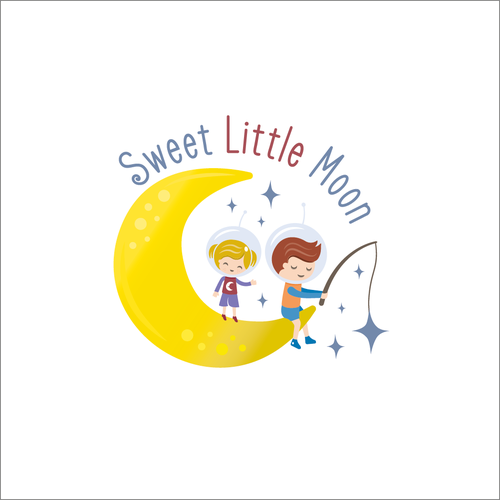 Cheerful design with the title 'Sweet Little Moon'