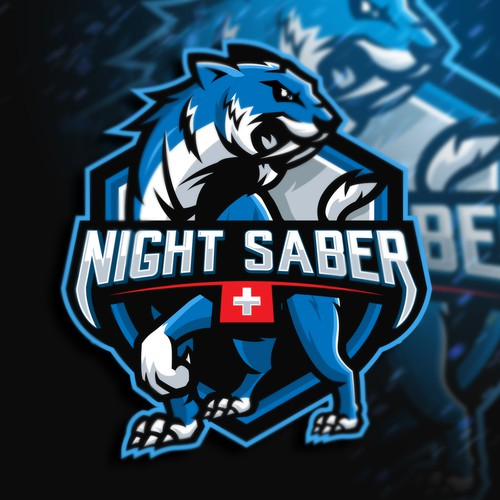 Blue logo with the title 'Night Saber'
