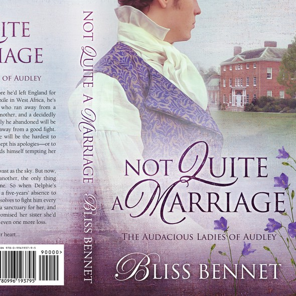 Romantic design with the title 'Not quite a Marriage - Regency Romance'