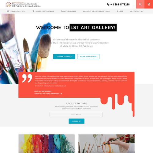 Playful website with the title 'Homepage for online art gallery'