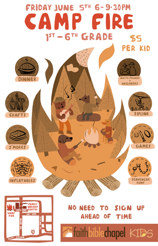 Childish design with the title 'Poster For a Kids Campfire Event'