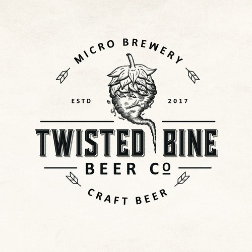 Hop design with the title 'Twisted Bine Beer Co.'