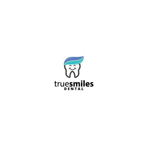 Toothpaste logo with the title 'Smiling tooth logo for a dentist'