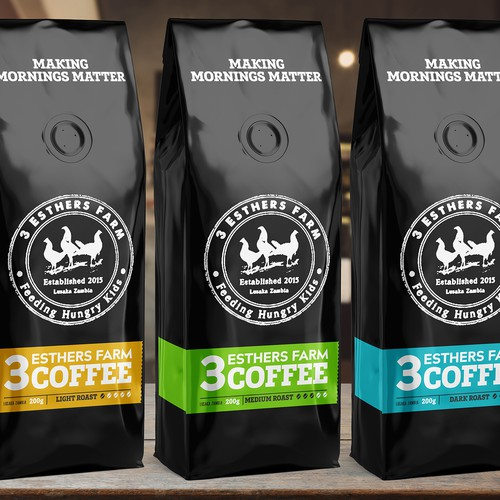 Artwork packaging with the title 'Packing 3 Esther Farm Coffee '