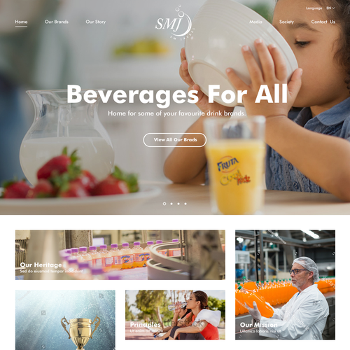 Food website with the title 'Web design for SMJ Beverage Company'