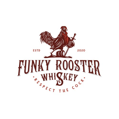 Funky design with the title 'Funky Rooster Whiskey'