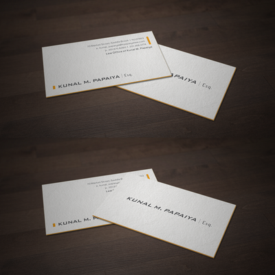 Letterpress Business Cards for Kunal Papaiya