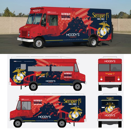 Marine design with the title 'Kickass Food Truck for Marine Base'
