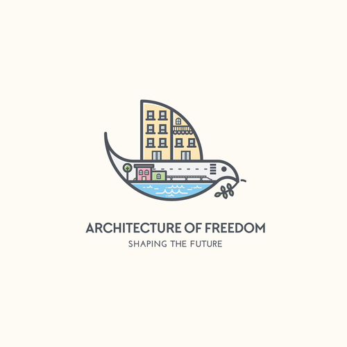 City logo with the title 'Playful,  minimalist and modernlogo for Architecture of Freedom'