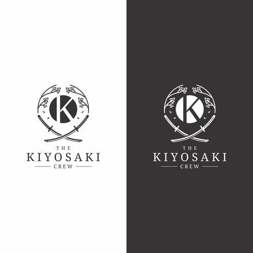 Petal design with the title 'Bold Masculine Japanese Theme Logo for The Kiyosaki Crew'