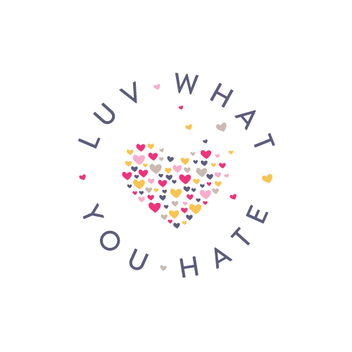 Pink and purple logo with the title 'Luv What you hate'