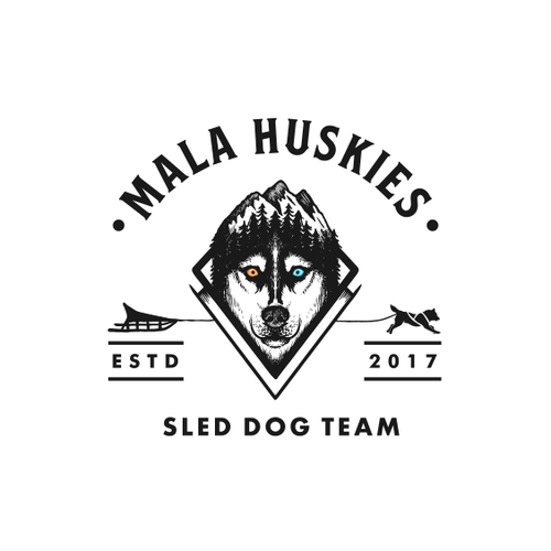 Vintage design with the title 'Logo Design for Mala Huskies'