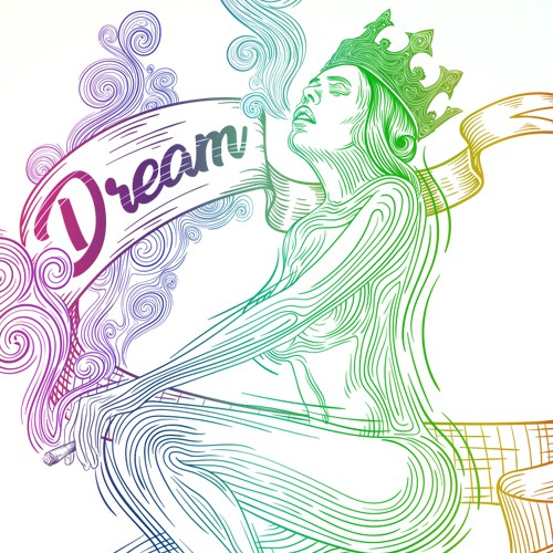 Nature illustration with the title 'Dream Queen'