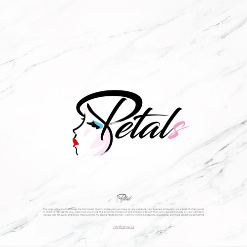 Makeup artist design with the title 'Petals'