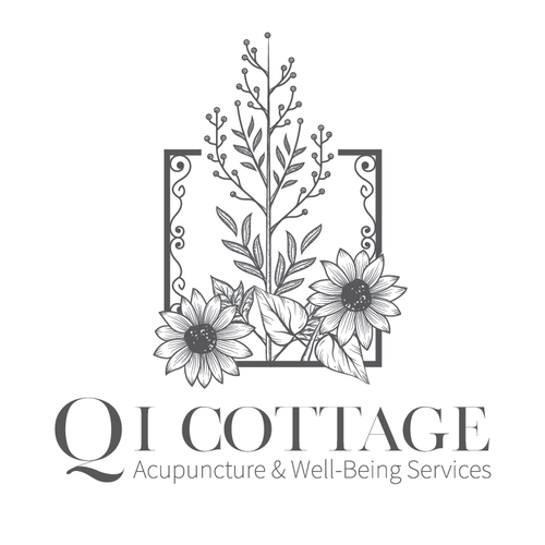 Sunflower logo with the title 'Logo for Qi Cottage Acupuncture & Well-Being Services'