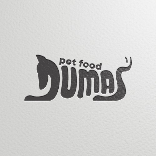 Pet food logo with the title 'Custom letter fo Duma's pet food'