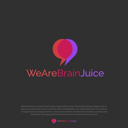 Communications brand with the title 'WeAreBrainJuice logo'