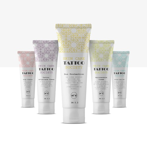 Geometric packaging with the title 'Tattto skin care cream'