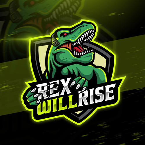 Dinosaur logo with the title 'Logo design for YouTube content creator '