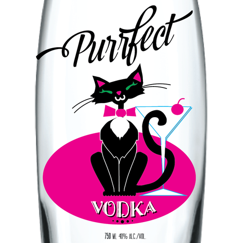 Cute label with the title 'Kitten Themed Vodka Label'