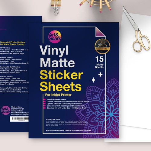 Paper bag packaging with the title 'Design for Sticker Sheet Pack'