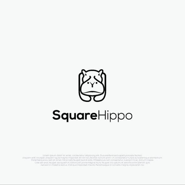 Hippo design with the title 'Monoline logo style for SquareHippo'