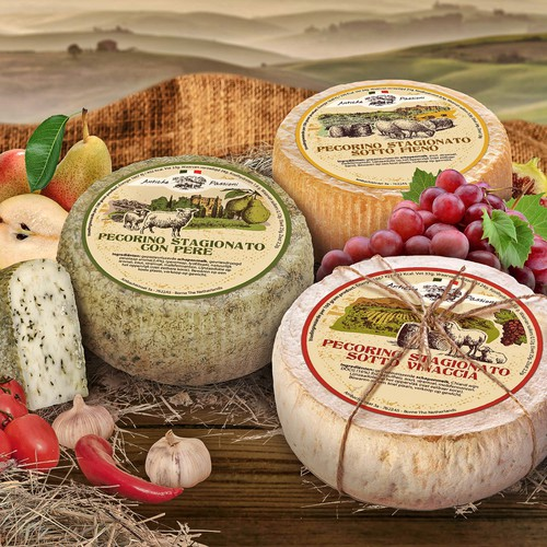 Photoshop label with the title 'Label design for Holland cheese'