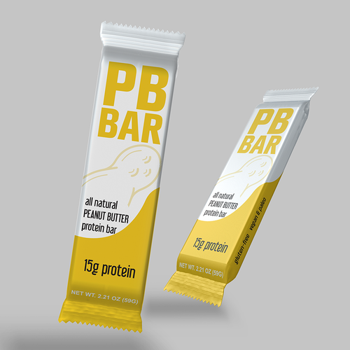 Bar packaging with the title 'Clean design of Peanut protein bar'