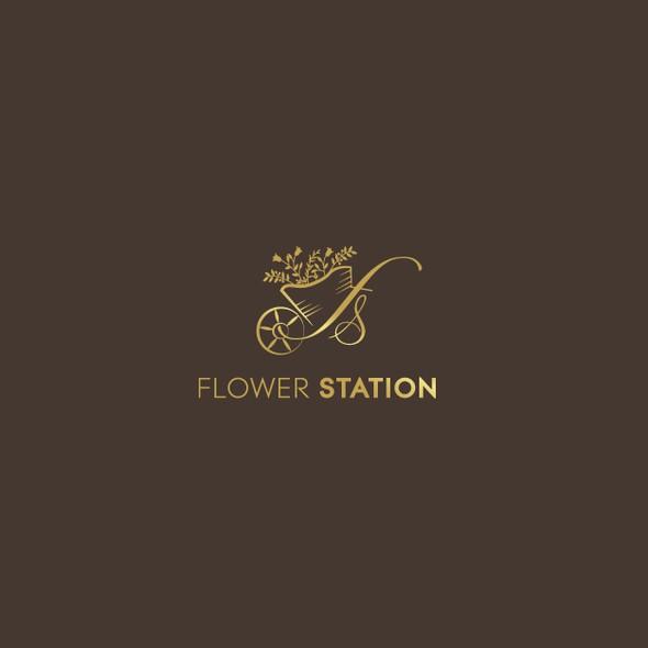 Flower shop design with the title 'Logo design for flower station'