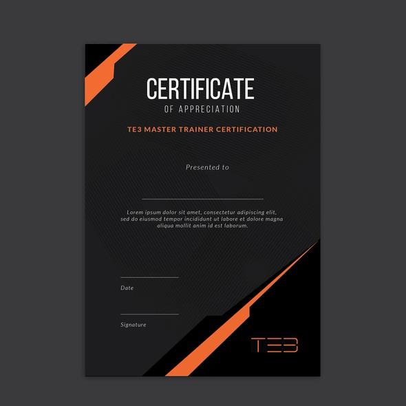 Orange and black design with the title 'Certificate design'